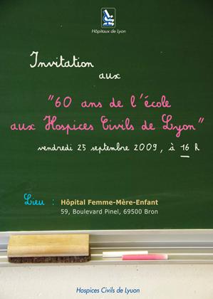 Carton d'invitation 60 ans d'école à l'hôpital